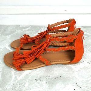 Qupid Orange Suede Tassel Flat Sandals